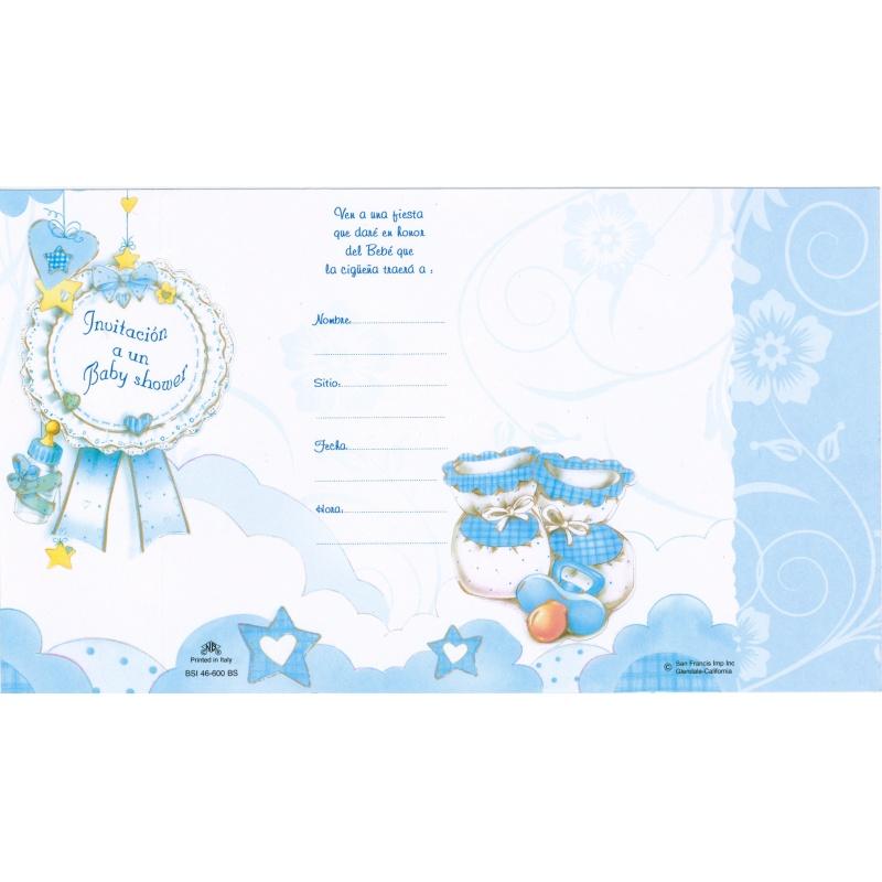 BABY SHOWER INVITATION SPANISH W/ENVELOPE BOY 100/PKG - San Francis