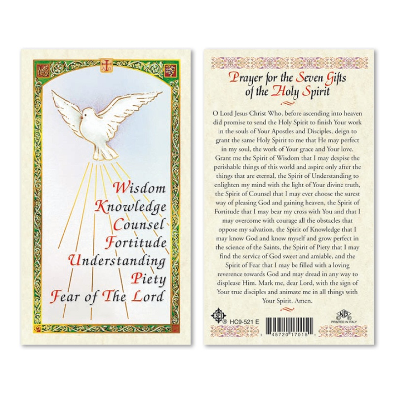 SEVEN GIFTS OF THE HOLY SPIRIT PRAYER CARD 25PK ENGLISH