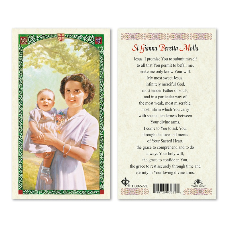 St Gianna Beretta Molla Prayer Card 25pk English San Francis