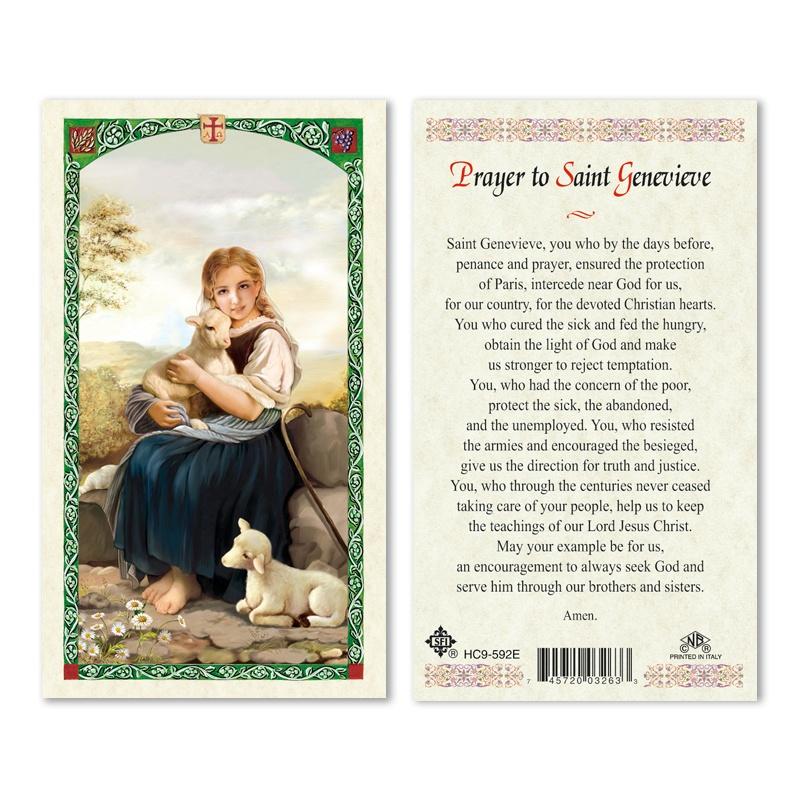st  genevieve prayer card 25pk english